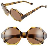 Jonathan Adler Women's 'Waikiki' 55Mm Hexagonal Sunglasses - Black