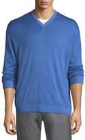 Kiton Washed Cashmere-Silk V-Neck Sweater, Blue