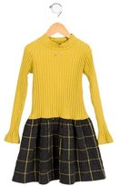 Lili Gaufrette Girls' Checkered-Paneled Bow-Adorned Dress