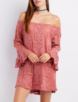 Charlotte Russe Lace Off-The-Shoulder Shift Dress