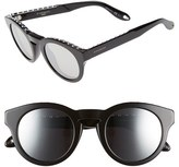 Givenchy Women's 48Mm Round Sunglasses - Black/ Silver Mirror