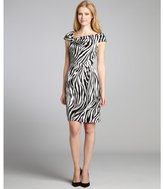 Kay Unger black and white zebra stretch silk pleated party dress