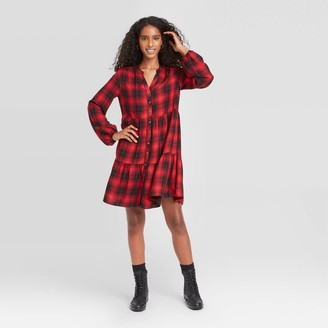 Knox Rose™ Women's Plaid Puff Long Sleeve Shirtdress - Knox RoseTM