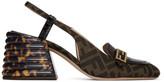 Fendi Black and Brown Forever Slingback Heels