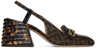 Fendi Black and Brown Forever Slingback Heels