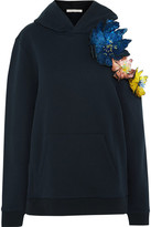 Christopher Kane Cold-shoulder Embellished Appliquéd Cotton-jersey Hooded Top - Midnight blue