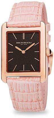 Bruno Magli Giulia Rose Goldtone Stainless Steel & Leather-Strap Watch
