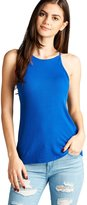TOP LEGGING TL Women's Supple Ribbed Sleeveless Halter Neck Jersey Tank Tops S