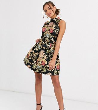 Chi Chi London high neck jacquard super mini dress in multi