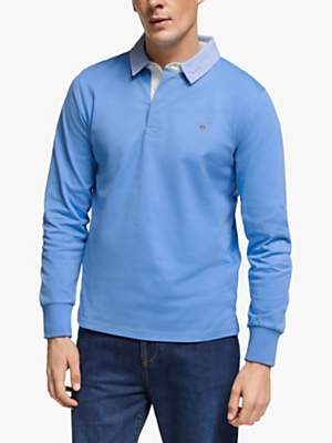 Gant Long Sleeve Heavy Rugby Shirt, Pacific Blue