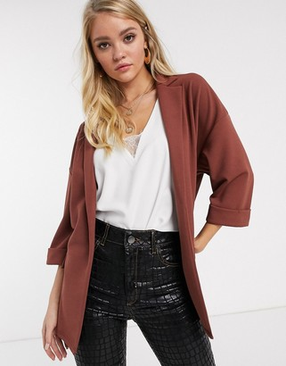 Asos Design DESIGN easy relaxed blazer in textured jersey-Brown