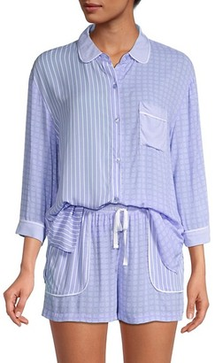 DKNY Boxer 2-Piece Button-Up Shirt Drawstring Shorts Pajama Set