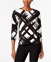 Alfred Dunner Petite Wrap It Up Brushstroke Sweater