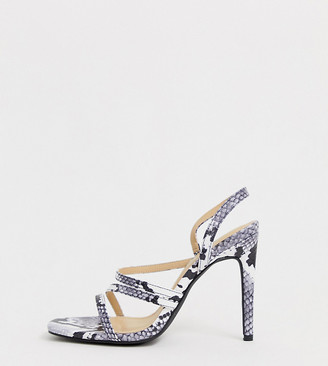 Truffle Collection Wide Fit snake print strappy stiletto square toe heeled sandals-Multi