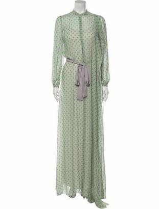 DELPOZO Polka Dot Print Long Dress Grey