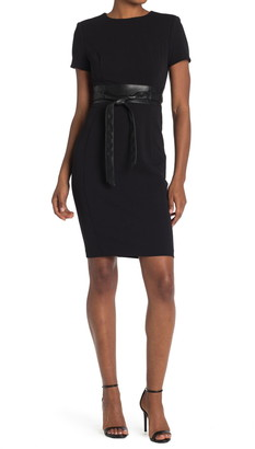 Calvin Klein Short Sleeve Sheath with PU Leather Belt