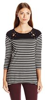 NY Collection Women's 3/4 Sleeve Boat Neck Split Front Raglan Seam Lace up Stripe Knit Top