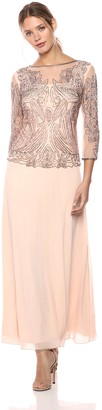 Pisarro Nights Women's Long Dress with 3/4TH Sleeve and Illusion Neck