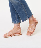 LOFT Tasseled Lace Up Sandals