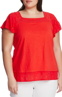 Vince Camuto Eyelet Detail Short Sleeve Cotton Blend Layered Top