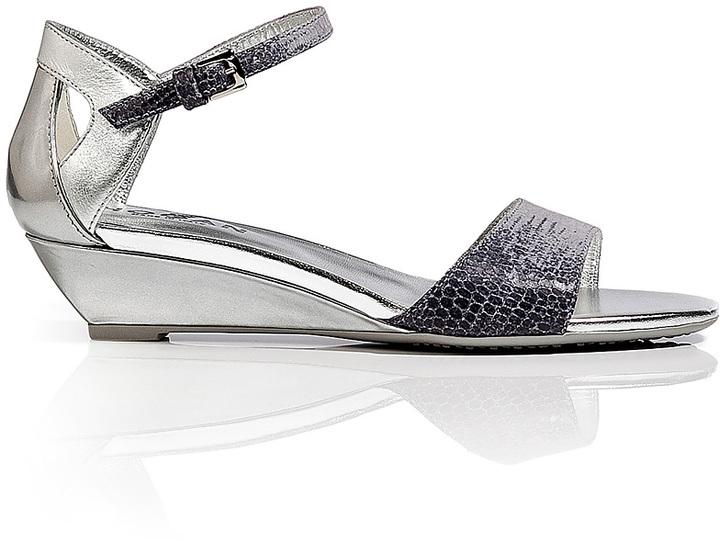 Hogan Metallic Leather Wedge Sandals
