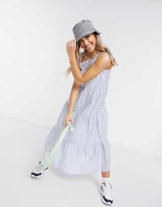 Pieces maxi sundress with tiered skirt in blue