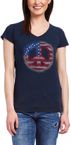 Navy Peace Sign Embellished V-Neck Tee - Plus Too