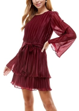 City Studios Juniors' Pleated Bell-Sleeve Dress