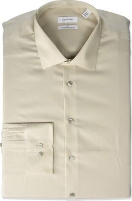 Calvin Klein Men's Tall Dress Shirts Non Iron Herringbone Solid