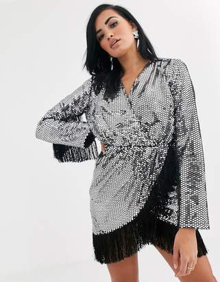 Opulence England premium party long sleeve sequin fringe mini dress in silver-Black