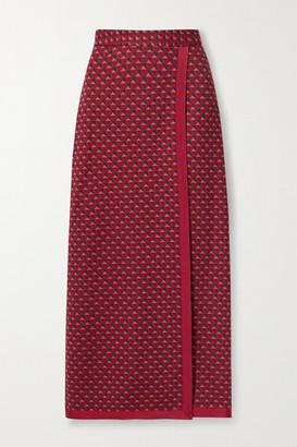 Rosetta Getty Wrap-effect Grosgrain-trimmed Jacquard-knit Maxi Skirt - Red