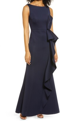 Eliza J Ruffle Sleeveless Mermaid Gown