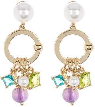 Carolee Imitation Pearl & Multi Stone Charm Drop Earrings
