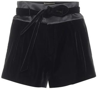 Saint Laurent High-rise velvet and satin shorts