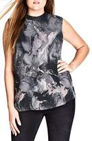 City Chic Marble Print Top