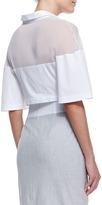Robert Rodriguez Cotton-Blend & Silk Cropped Bell-Sleeve Top