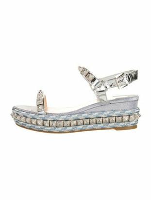 Christian Louboutin Piya Ryad Leather Sandals w/ Tags Silver