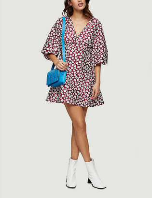 Topshop Daisy-print puff-sleeve woven mini dress
