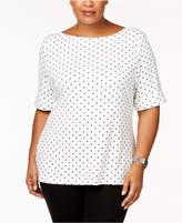 Karen Scott Plus Size Cotton Polka Dot Elbow-Sleeve T-Shirt, Created for Macy's