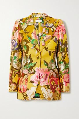 Dries Van Noten Floral-jacquard Blazer - Yellow