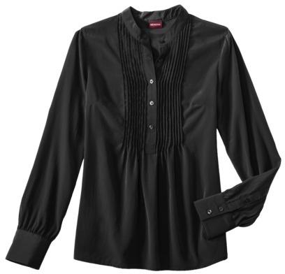Merona Women's Pintucked Long Sleeve Blouse - Assorted Colors