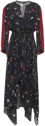 Maje Asymmetric Shirred Floral-print Georgette Dress