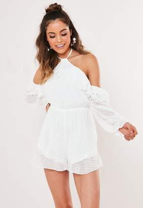 Missguided White Dobby Frill Cold Shoulder Playsuit
