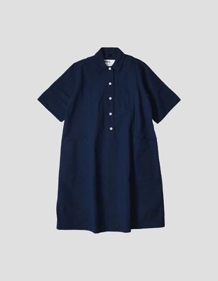 Margaret Howell Flared Shirt Dress - cotton | Small (S) | indigo - Indigo
