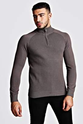 BoohoomanBoohooMAN Mens Grey Regular Fit Half Zip roll/polo neck Knitted Jumper, Grey