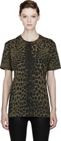 Balmain Pierre Olive Green Leopard Spot Print T-Shirt