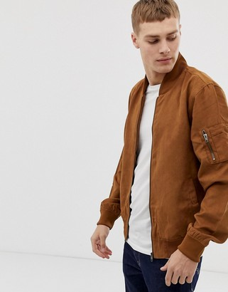 French Connection faux suede baseball jacket-Brown