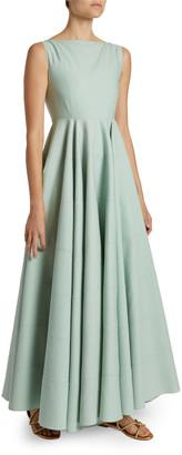 Alaia Textured Poplin Boat-Neck Dress