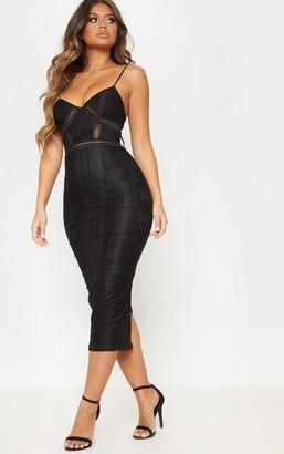Pure Black Lace Mesh Stripe Insert Midi Dress