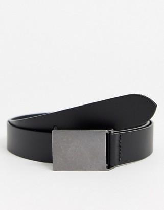 Asos Design DESIGN leather slim belt in black with gunmetal plate buckle